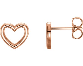 14kt Rose Gold Heart Earrings