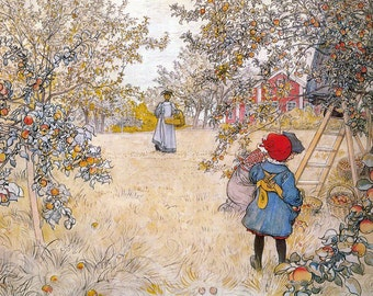 Farmhouse Notecard - Women and Children Pick Peaches in an Orchard - Carl Larsson Repro Greeting Card