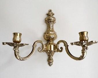 Brass Wall Sconce - Candle Wall Sconce - Hanging Light Fixture - Brass Candlesticks