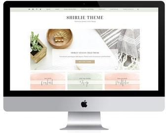Feminine Wordpress Theme Shirley / Ecommerce and Portfolio / Genesis Child Theme / Woocomerce Theme / Photography Theme / Mint Peach