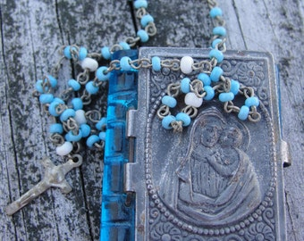 Vintage child's Rosary with glass and metal case