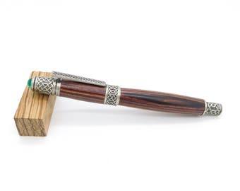 Hand gedreht keltische Knoten Tintenroller, Zinn Antikfinish Tintenroller mit Kingwood, authentische Cabochon, handgefertigte exotischen Holz-Stift