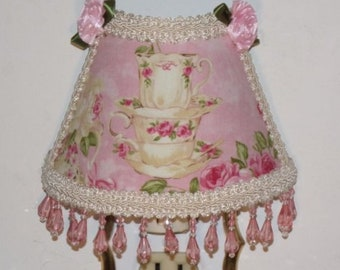 Stacked Teacups Pink Cottage Roses Victorian Chic NIGHT LIGHT with Lt Pink Beading