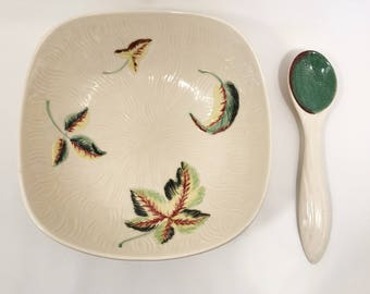 Vintage Shorter & Son Ltd Staffordshire Bowl and Serving Spoon in 'Woodland' Pattern c1940-1964
