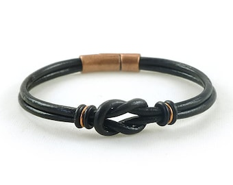 Unique Gift for Men Black Leather Bracelet with Copper Clasp, Gift for Husband, Gift for Boyfriend, Gift for Son, Mens Copper Bracelet