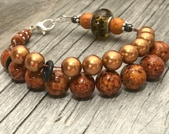 Ginger Brown Abacus Row Counting Bracelet- Beaded Knitting Row Counter- Gift for Knitters