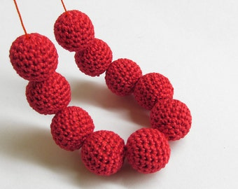 Crocheted beads 18 mm or 20 mm red handmade round cotton on wood