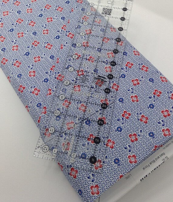Navy And Red Flowers, Toy Chest Florals From Washington Street Studio's For P&B Textiles, Fabric By The Yard 0418n