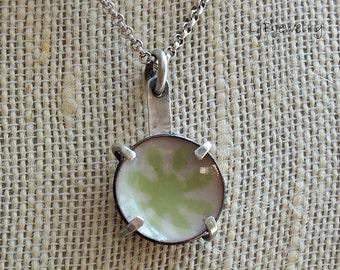 Enamel Necklace, Enamel Pendant, Silver Necklace, Metalsmith Jewelry, Flower, Enamel, Sterling Silver, Copper
