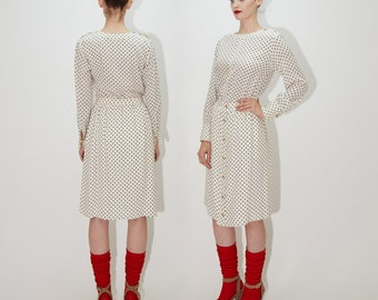 CHANEL Couture 1960s Cream & Navy Silk Polka Dot Two Piece Dress, Blouse Skirt Suit Set, Monogram Cufflink Buttons, size XS - Small / 40
