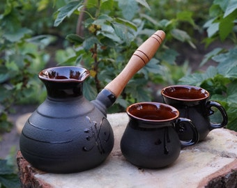 Mens gift Turkish coffee pot Coffee Set Ceramic Coffee Pot Anniversary gifts Family gift Couples gift Papa gift Gift for bride Coffee break