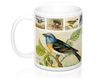 Vintage Birds Postcards Novelty Coffee Mug in 11 or 15 oz. (#2)