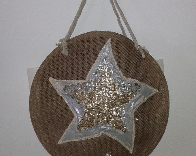 handbag fabric star, Brown, round bag, beach, shopping, leisure, large bag, tassels, trend,