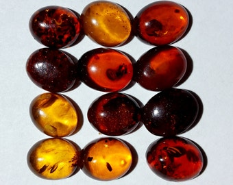 Designer dream! Natural Baltic Amber oval  cabochon size 8 x 10 mm mix lot of 12 pcs Weight  about 12.5 Carats