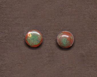 Red & Green Minimalist earrings/ Silver stud earrings/ Geometric earrings /Hypoallergenic studs/ Ceramic earrings/ Great gift for her