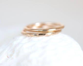 Gold Band Ring, Gold Band Ring Set, Brushed Satin Gold Band, 14k Gold Filled Band, 14K Gold Filled Wedding Band Set