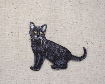 Black Cat - Full Body - Facing Left - Pets - Iron on Applique - Embroidered Patch - 1117402-A