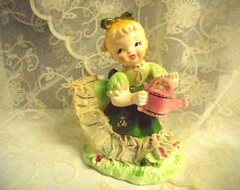 Vintage China Figurine Display -  Girl with Watering Can