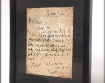 Jack the Ripper From Hell letter aged reproduction in frame.