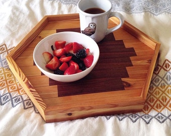 Large Hexagon Serving Tray - Reclaimed Wood