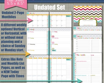 """NEW! UNDATED Printable Monthly Planner - Signature Design - Sized Small 5.5"""" x 8.5"""" PDF"""