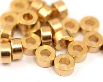 50 Pcs Raw Brass Industrial Findings, Spacer Beads (6 X 3mm) A0435