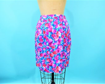 "1990s floral skirt | silk pink and blue floral print fitted skirt | vintage 90s skirt | W 25""+"