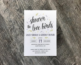 Country Chic Floral Watercolor Wedding Shower Invitation | Floral Love Birds Wedding Shower Invitations