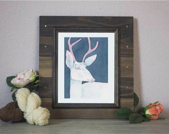 "Watercolor Print ""White King"" - Albino Deer"