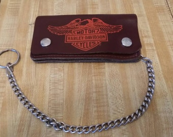Harley Davidson Motorcycle Vintage Leather Wallet with Chain