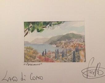 Pescallo. Lake Como. Acquarellata printing by hand. Watercolors Lake Como. Watercolorlakeitaly. Lakeitaly. Italianlandscape. Watercolorprint