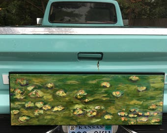 Lilly Pad Painting Original Oil on Canvas Original Artwork by Jill Opelka Framed Art Rectangular Painting Lilly Pad Pond Painting 12 x 36