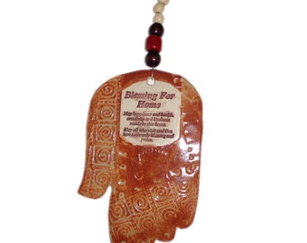 Hamsa With Beads/Abstract Ceramic Wall Hanging/Home Blessing/Hebrew/Protection Against Evil Eye/Pottery - By Leslie Farin