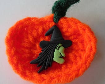 Crocheted Pumpkin Magnet, Magnet With Witch Decal, Orange Magnet, Halloween Magnet