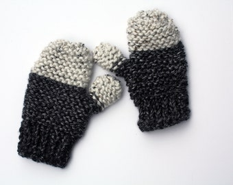 Chunky knit mittens in charcoal and light grey