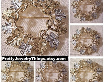 Frosted Leaf Pin Brooch Gold Silver Tone Vintage Sarah Coventry Garland Wreath