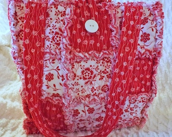 Rag Quilt Tote - Red and White Floral - Bold and Bright Red - Handmade - Mother's Day Gift - Gift for her