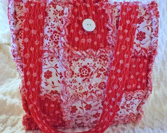 Rag Quilt Tote - Red and White Floral - Bold and Bright Red - Handmade - Gift for her