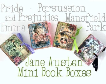 Jane Austen Mini Book Party Favors | Miniatures Birthday Shower Tea | Emma Persuasion Mansfield Park Pride Prejudice Personalize 30