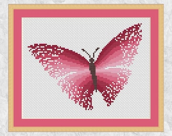 Pink butterfly cross stitch pattern, printable modern counted cross stitch chart, girl, new baby, birth, magic, easy PDF - instant download