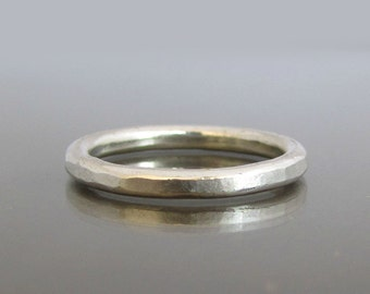 Silver Stacking Rings, Hammered Silver Ring, Stackable Silver Rings, Sterling Silver Band, Stacking Ring, Unisex Ring, Rustic Silver Ring,