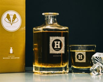 Groomsmen Gift – Personalized Whiskey Decanter Set – Engraved