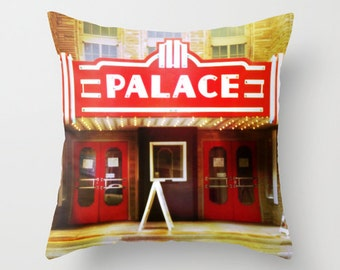 Theater Pillow Cover, The Palace Theater, Theater Decor, movie decor, old cinemas, marquee sign, movie lover, film geek, actor gift, Palace