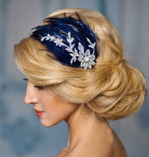 Blue wedding fascinator navy blue and silver lace feather zoom solutioingenieria Images