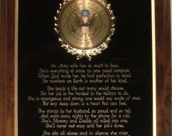 US / United States Army Wife Plaque - Makes a Wonderful Patriotic Gift !