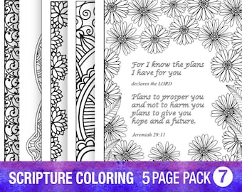 5 Bible Verse Coloring Pages Set Inspirational Quotes DIY Adult Coloring Pages Printable Sheets PDF Instant Download