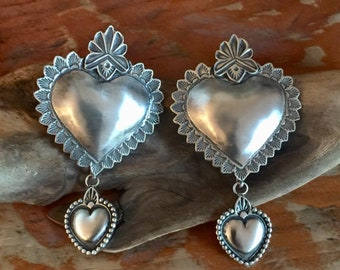 EBH6 The Santa Fe Heart repousse over Smaller Repousse Heart sterling silver southwestern native style earrings