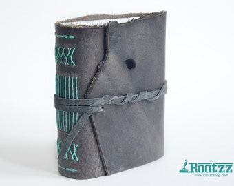 Leather journal grey with turquoise binding  travelers notebook journal midori