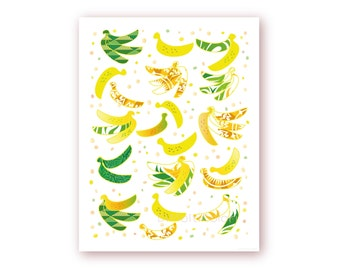 Green Bananas Kitchen Wall Art, Tropical Fruit,Printable Fun Food Art, Office Wall Decor,Dining Room Fruit Poster, Digital print,Summer Art