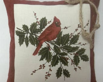 Cardinal Mini Pillow Bird On Holly Branch Holly Berries Gift For Bird Lover Nature